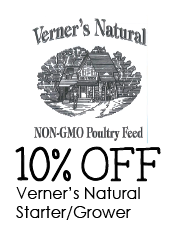 10% off Verners Natural Non-GMO Chick Starter