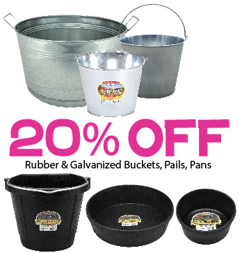 20% off rubber and galvanized