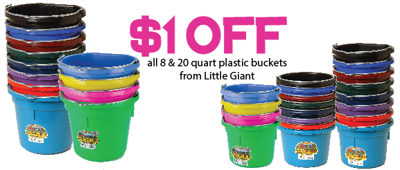 $1 off plastic buckets